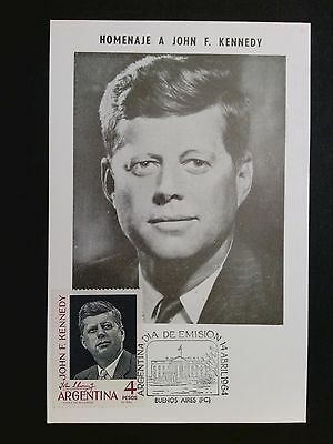 ARGENTINA MK 1964 JOHN F. KENNEDY MAXIMUMKARTE CARTE MAXIMUM CARD MC CM c8130