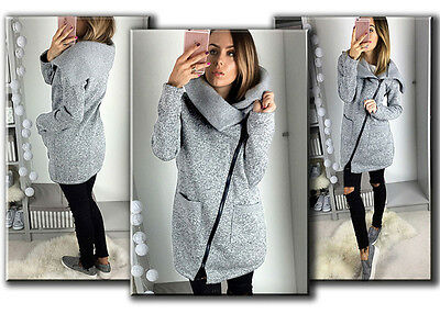 Sale Womens Casual Hooded Jacket Coat Long Zipper Sweatshirt Outwear Tops Gray L
