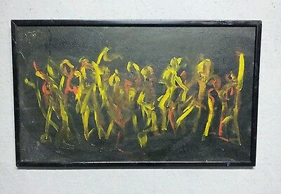 Vintage abstract expressionist dance mid century oil painting fiesta carnival