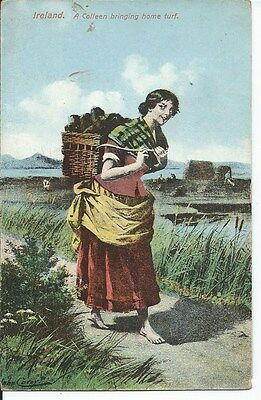 IRELAND A Colleen Bringing Home Turf Early Milton Postcard