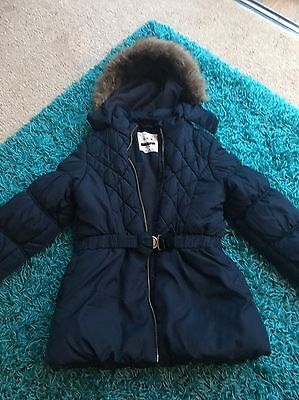 Girls Navy Hooded Coat age 9-10 Years
