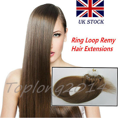 "18"" Micro Ring Loop Bead Remy Human Hair Extensions 100S Fahion Chestnut Brown"