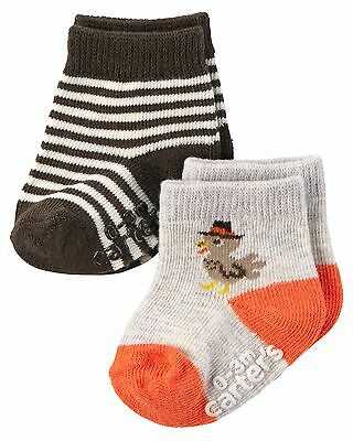 NEW NWT Boys or Girls Carter's 2 Pack Pair Thanksgiving Socks 0-3 Months Turkey