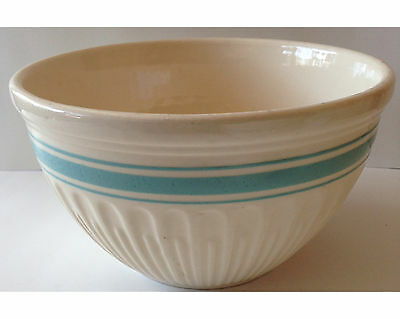 Vintage Hull Ware Mixing Bowl Cream w/ Turquoise Band 9 & 1/2