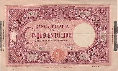 Italy,500 Lire Banknote 1943 Very Fine Condition Cat#70-A-1333