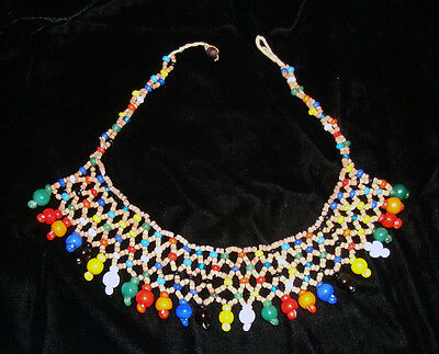 Vintage 70's Hippie MULTICOLOR BEADED FRINGE CHOKER NECKLACE Seed & Glass Beads