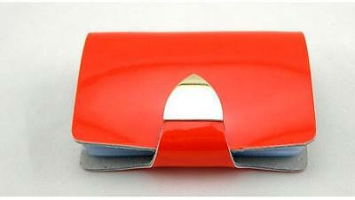 Orange Polish Leather Business Name ID Credit Card Holder Book Case Box 26 Cards