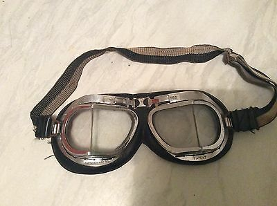 Vintage Pair Of Motor Cycle / Car Goggles Slit Glass