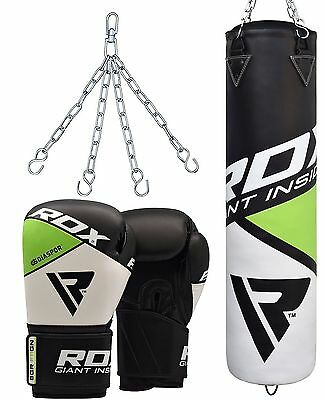 RDX Leather Filled 5FT Punching Bag Set 12oz Boxing Gloves Punch Bags & Pads