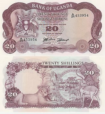 Uganda 20 Shillings Banknote 1966 Uncirculated Condition Cat#3-A-3954