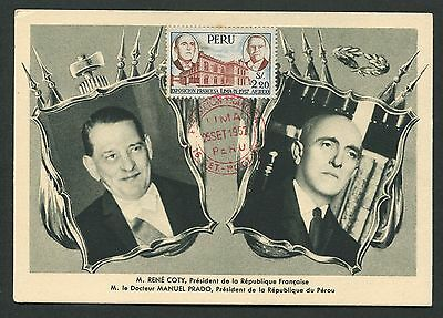 PERU MK 1957 EXHIBITION LIMA-IX MAXIMUMKARTE CARTE MAXIMUM CARD MC CM d4614