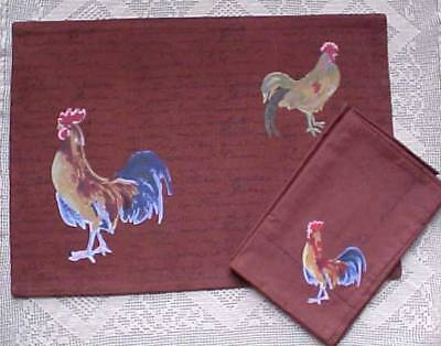 Rooster Brown Place Mats And Napkins Four Each Brown 100% Cotton India New