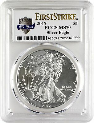 2017 $1 American Silver Eagle PCGS MS70 First Strike - US Mint 225 Years