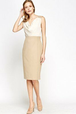 BNWT GORGEOUS BEIGE AND WHITE Cowl Neck Pencil Dress - Size 14 PARTY WEDDING