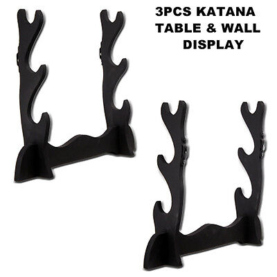 Wooden Black Martial Arts Three Tier Japanese Katana Sword Stand