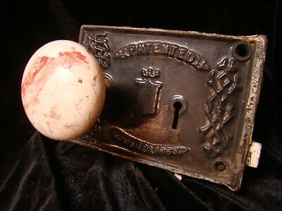 ANTIQUE CIVIL WAR ERA 1863 RIM LOCK DOOR KNOB SET LOCK BOX BLW BENNINGTON d