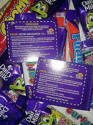 2 CADBURY WORLD FREE CHILD ENTRY VOUCHERS (with full paying adult)