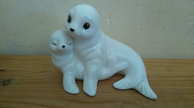 Figure of Mother and Baby Seal - Royal Osborne