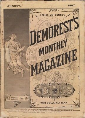 Demorest's Monthly Magazine  August 1887,  Great stories prints and engravings