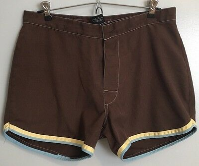 VTG 1970's JcPenney Towncraft Mens Brown Swim Shorts Size 34 Blue Yellow Piping
