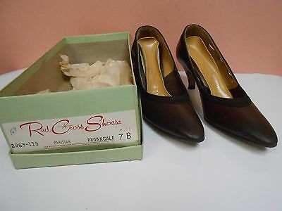 Vintage Red Cross Shoes Women's Shoes Size 7B Brown Leather