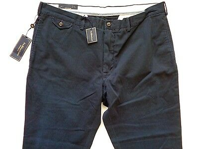 New Ralph Lauren Polo Navy Blue Cotton Chino Pants Straight Fit size 40 x 32