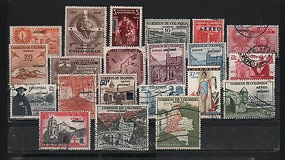 Colombia 1959 Airmail Unificado Overprinted Full Set 21 Map Church Sc# C322-C346
