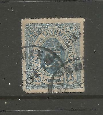 LUXEMBOURG – 1875 – OFFICIAL OVERPRINT– Scott # O6 – 25 Centime, Blue - USED