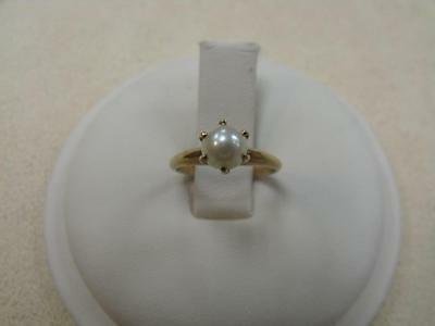 10K yellow gold 6.5 mm cultured pearl solitaire ring, size 6.5
