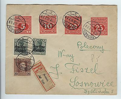 1918 Poland Multi Franked Registered Philatelic Cover with Bosnia Postage Dues