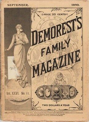 Demorest's Monthly Magazine September 1890,  Great stories prints and engravings