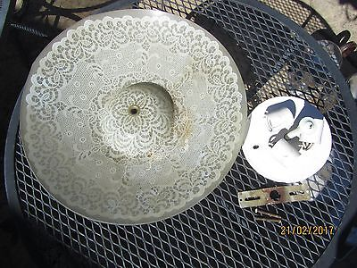 Vintage ceiling light fixture with round floral frosted glass - with hardware +