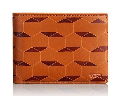 Tumi Mens Chambers Global Double Billfold With ID Case Classic Tan Hexagon Print