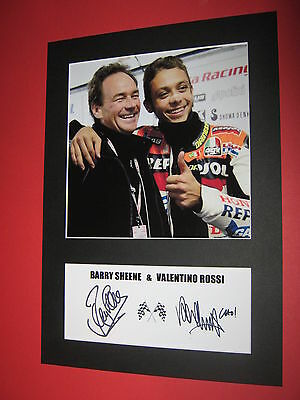 Valentino Rossi & Barry Sheene A4 Photo Mount Signed Reprint Autograph Motogp