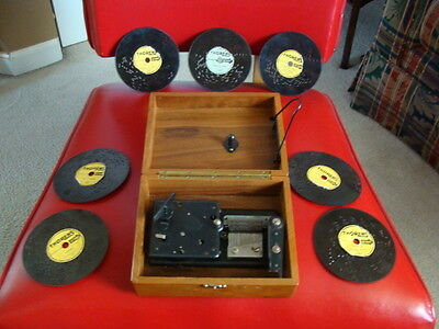 Vintage Thorens Music Box with 7 Discs (2)Christmas estate find
