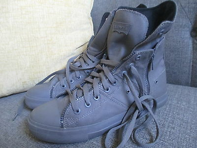 Levis Mens Gray Canvas Lace Up  Hi Top Sneakers, Size 12M