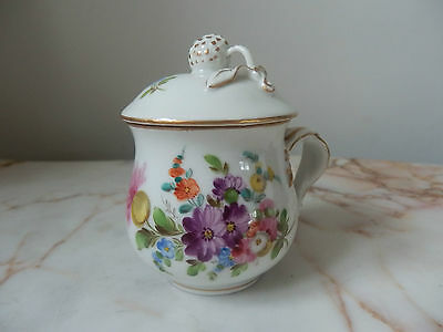 Antique Hand Painted In The Dresden Style Floral Gilded Lidded Chocolate Cup