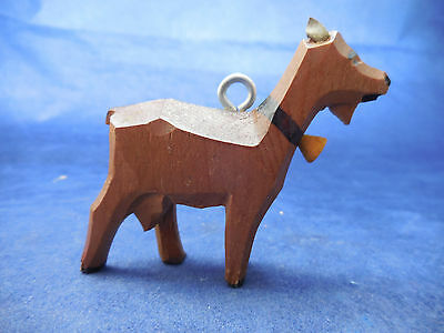 """carved wood ornament goat 2 1/2"""""""