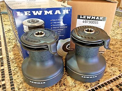 Pair Of Beautiful New Black Lewmar 30 Evo Self Tailing 2 Speed Racing Winches
