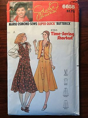 Vintage 1970's Marie Osmond #6655 Sewing Pattern Size 8-10-12 Butterick
