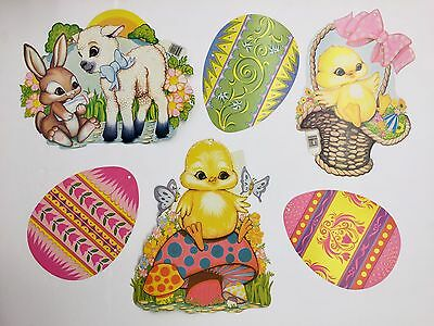 Vintage Beistle Easter Cutouts Bunny Chick Eggs Lamb Wall Decor Hanging Lot of 6