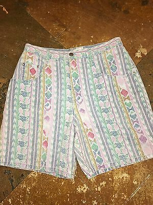 VINTAGE 90's PRINTED DENIM MINI STRIPED AZTEC PRINT HIGH WAIST SHORTS