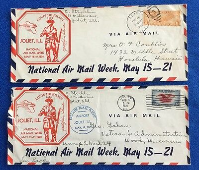 National Air Mail Week - Joliet IL First Flight Cancel Mark - Cachet Cover Lot