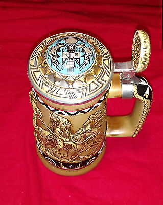 Indians of the American Frontier collectible beer stein by Ceramarte of Brazil