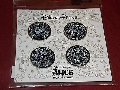 Authentic Disney Parks Alice In Wonderland Trading Booster Pins Set Of 4 New