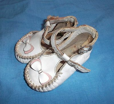"VINTAGE/ANTIQUE white & pink leather Doll And BABY shoes 3 1/2"" long Adorable!"