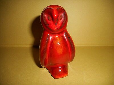 Blue Mountain Pottery BMP miniature owl RARE colour with sticker inside Flame?