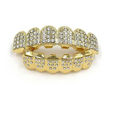 14K Gold Teeth Grillz Top Bottom Iced Out CZ Hip Hop Tooth Cap Grill Set Jewelry