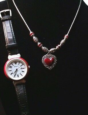 VINTAGE BRIGHTON Silver, Red bead & two sided heart pendant necklace & watch set