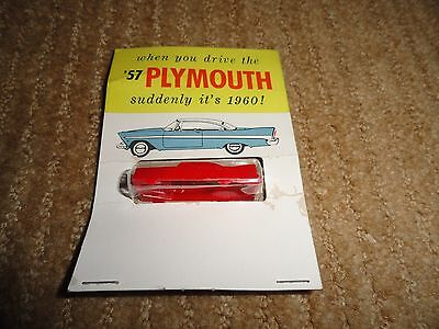 1957 Plymouth Fury Dealer Giveaway Mini Plastic Red Plymouth On Blister Card